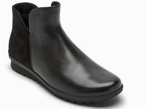 Front part is black smooth leather ankle boot.  Back half is black nubuck leather.