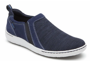 Blue mesh upper with two twin elastic gores for easy fit.  Back part of shoe is navy nubuck and white sole for fresh look.