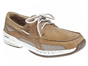 Taupe nubuck leather on upper with white cotton laces that have three eyelets and then feed through a leather tunnel around the back of the shoe.  Three mesh white panels are around the lower part and whole side of shoe.  White sole with rollbar for stability.