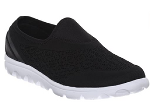 Black mesh slip on shoe with wide and extra wide widths. Black mesh with design is found on the upper along with neoprene on the front toe and around the entry of the shoe. White sole.