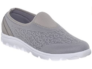 Silver mesh slip on shoe with wide and extra wide widths.  Grey mesh with design is found on the upper along with  neoprene on the front toe and around the entry of the shoe.  White sole.