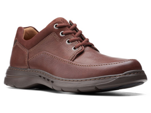 Brown leather casual walking shoe with smooth leather upper and nubuck trim around padded heel collar.