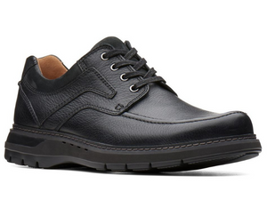 This casual black leather walking shoe has a cushioned sole that is solid black. A moccasin stitch on the top upper and nubuck on the padded collar and tongue.