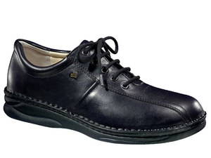 Black leather lace walking shoe featuring leather lining and a replaceable cork footbed.  Padded collar for comfort along with durable walking sole.