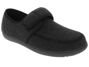 Morgan is one of the men's favourite slippers.  This fabric slipper has a velcro strap to snug the heel in place, and adjust to the perfect fit.  Nice walking sole that gives stability when walking.  The grey slipper with stripped decorative plug on top looks great and feels great.