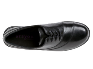 Bird's eye view of this black leather lace up shows the nice wave stitching on the front of the shoe to breakup the solid look.