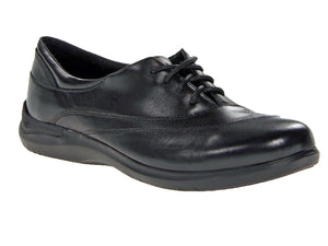 Lace up comfort shoe for ladies made in a black supple leather.  Four eyelet laces leaves room for the wave stitching across the front.  Great cushioning  in outsole and padded heel collar for comfort.