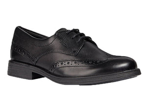 Black smooth polishable leather oxford lace up shoe with detailed stitching and nice design.  Perfect for a school uniform shoe.