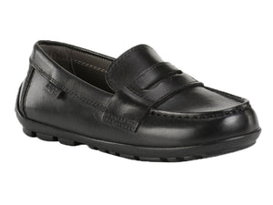 Soft leather with a penny loafer look with a moccasin stitch will certainly be a comfortable shoe to wear all day.  Great school uniform shoe.