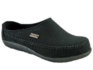 Men's slipper with hard sole, wool upper in black, slip on style for easy on and off, supportive Haflinger