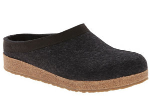 Charcoal boiled wool for strength, with leather trim, cork footbed, rubber sole, clog slip on style, men and women sizes, Haflinger