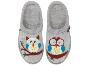 Hoot, Hoot!  Olivia the Owl  is calling letting you know that she is the cutest ladies slipper with grey boiled wool upper, supportive sole from Haflinger.