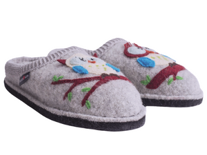 Owl slippers for women, wool upper with two owls on the front sitting on branches, cute and great gift idea