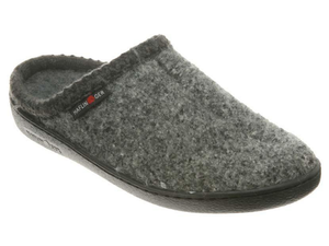 Men and Ladies slipper, hard sole, slip on, boiled wool, grey speckle, supportive footbed