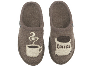 Haflinger slipper for men and women, boiled wool upper with coffee cup and coffee bean bag image, supportive footbed, slip on slipper, fun, great as gift, brown