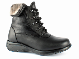 This lace up ladies winter boot is black smooth leather for easy fit and durable wear.  The laces help secure the foot into place and the turn over fur collar add lots of flair.