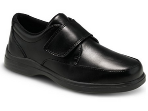 The most popular black leather velcro strap school uniform shoe for both boys and girls.  Padded collar and great cushioning allows it to be wore in comfort all day long.