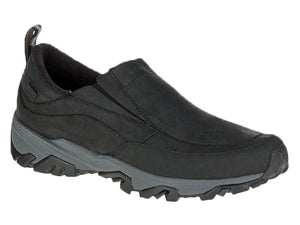 Black leather waterproof slip on shoe that is features warmth along with an amazing grip that is excellent on snow and ice.  Comes in med and wide widths.