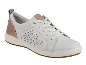 White leather lace up walking shoe with patches of bronze on tongue and heel.