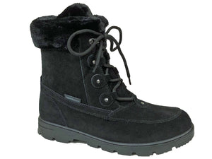 Ladies lace up nubuck leather black winter boot with side zip for easy on and off.  Comes in wide and extra wide widths.