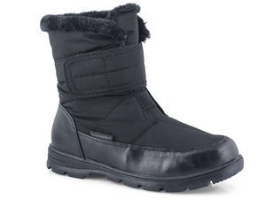 Nylon women's boot with velcro strap to secure foot into boot.  Leather is stitched around the bottom 2 inches to give durablity and strength to this waterproof winter boot.