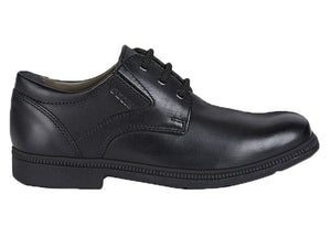 A padded collar and smooth black leather front allows the shoe to mold to your foot and giving the ultimate in comfort.  A great school uniform shoe.