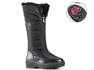 Tall nylon boot with leather trim around the bottom for durability and easy to clean.  Front zipper opening with turn down fur collar.