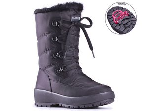 This women's nylon waterproof boot has laces but no entry allowing you to tighten the laces for the perfect fit.  The entry/exit is using the side zipper.  Built in clips are great against snow and ice. Comes with a key that can be used to unlock cleats in their positions.