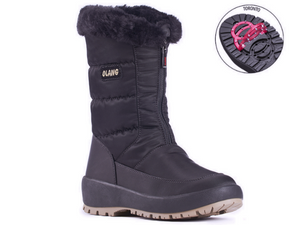 Gemma is all over nylon boot with front zip and fur around the top.  Easy to look after with damp cloth wipe down..