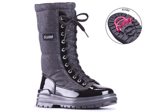 A combination of black patent leather on the bottom portion and up the entire eyelet section along with a glitter black material in this tall lace up boot with side zip.  The laces can be tighted for a great fit, but there is no opening under them.  The opening is a side zip for entry and exit.