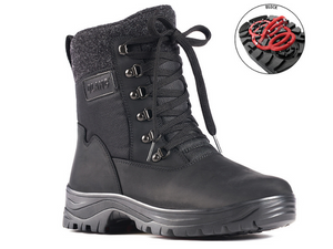 This leather and nylon waterproof  boot  has laces and a side zip for easy on and off.