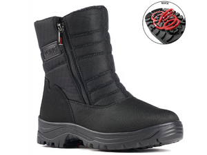 Nylon men's waterproof winter boot with two zippers, one on each side.