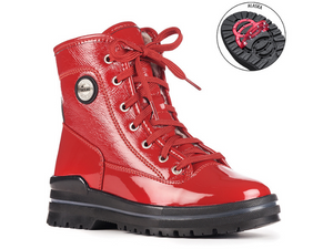 Red patent leather boot that is absolutely gorgeous!  Laces from top of foot all the way up to the ankle.  Broken into four sections by two rows of stitching.