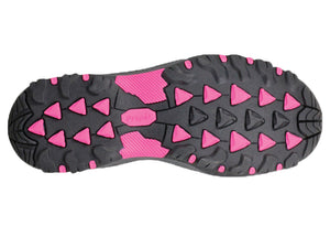 The view of the sole of this shoe shows the cushioned rubber sole that has spots of colour.  Aggresive tread for long walks.