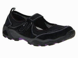 Combination of black material and mess upper is accented with a white contrast stitching.  A grey heel has specks of purple in a cushioned rubber outsole.