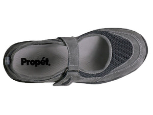 The top view allows you to see the cushioned insole that can be removed if needed for an orthotic.  As well as the velcro strap and combination of materials.