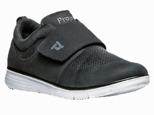 Black material shoe for men with flexiable top that is good for swelling, bunions, etc.  Large velcro strap across instep for the exact fit.  Cushioned collar for comfort and great cushioning in sole.