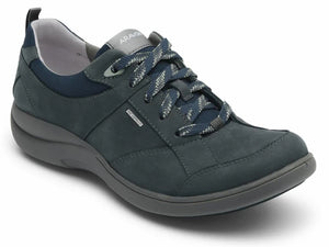 Smokey blue leather waterproof lace up walking shoe with black stitching to give added support. Five eyelet lace up with white laces with black design on them.