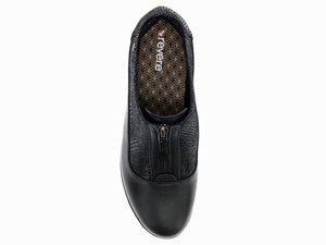 Top feel shows the u shaped black leather that wraps around the shoe allowing the top part to be in a black  stamped leather.