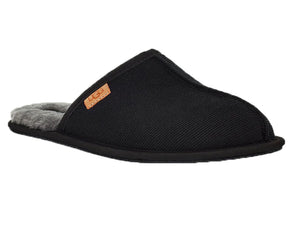 Scuff is a black cordoroy back less slipper with wool lining for warmth.