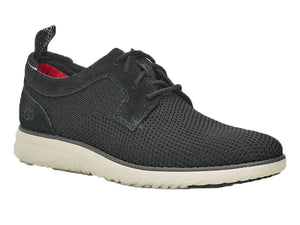 A fabric mens walking shoe with leather trim and white sole for an everyday look.