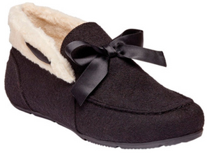 Black felt ladies slip on slipper.  Vionic arch support system and white comfy lining.