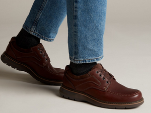 A person wearing these shoes and how well they go with jeans.
