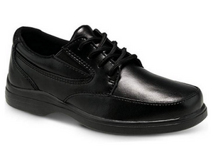This black leather school uniform shoe for boys and girls feels like a runner.  The padded leather shoe from it collar to the tongue feels like putting on a sneaker.  The cushioned sole continues to give support all day long.