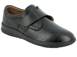 This men's shoe has a stretchable front that allows for feet problems like bunions, hammer toes, etc.  The velcro strap opens up wide to make it easy to get on and then to close tightly for a secure fit at the heel.  The bottom sole is very cushioned for all day comfort.