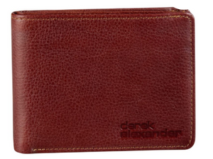 A men's wallet that is a great whiskey brown colour.  A drum dye leather meaning it as a bit of texture to the leather.  Folds in half, which is a great size for a back pocket.