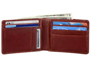 When you open this wallet up you will find places for seven cards or more, side pockets on both sides and a large pocket for bills.