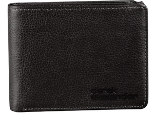 A black leather men's wallet with a drum dye leather which means it has a texture to it.  Casual everyday looking wallet that would be great with jeans.