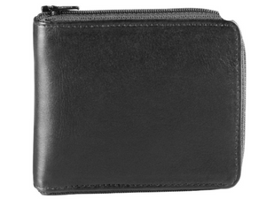 The wallet is a black smooth leather that has a zipper that goes all the way around it to keep stuff in.