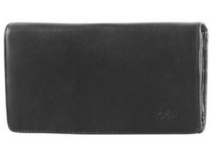 This black large wallet has a smooth leather finish that gives it a classic style.